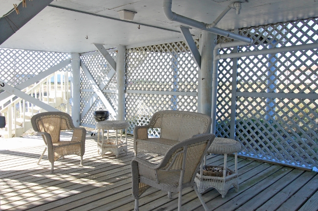 Relaxing seating area under house