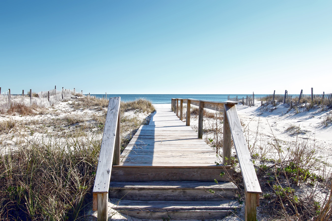 Boardwalk to private beach