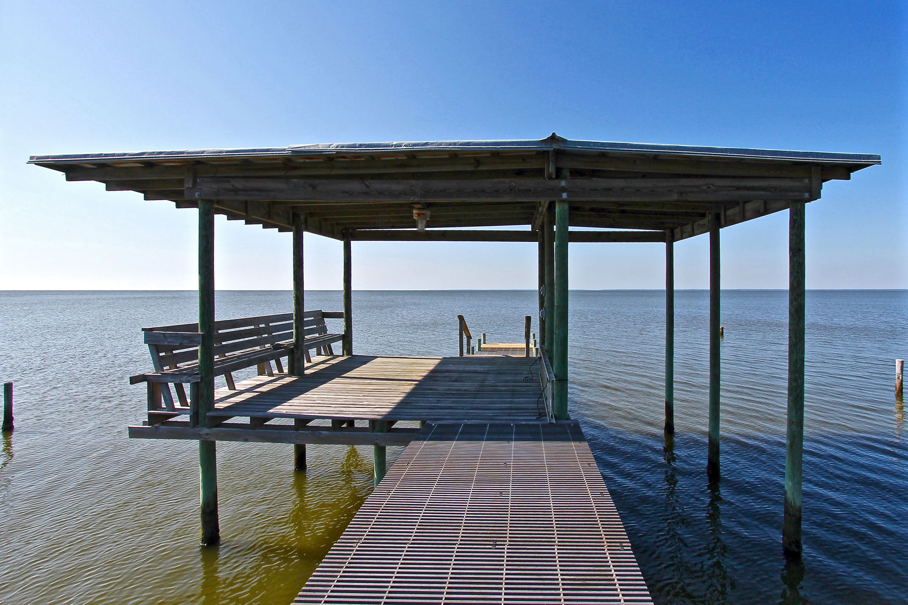 Covered dock with built in seating