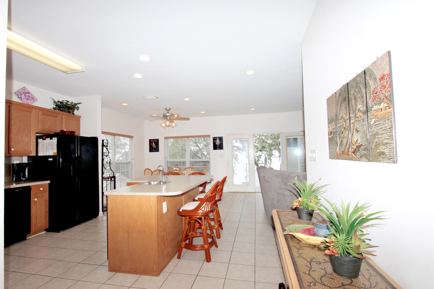 Entrance into kitchen/living/dining area