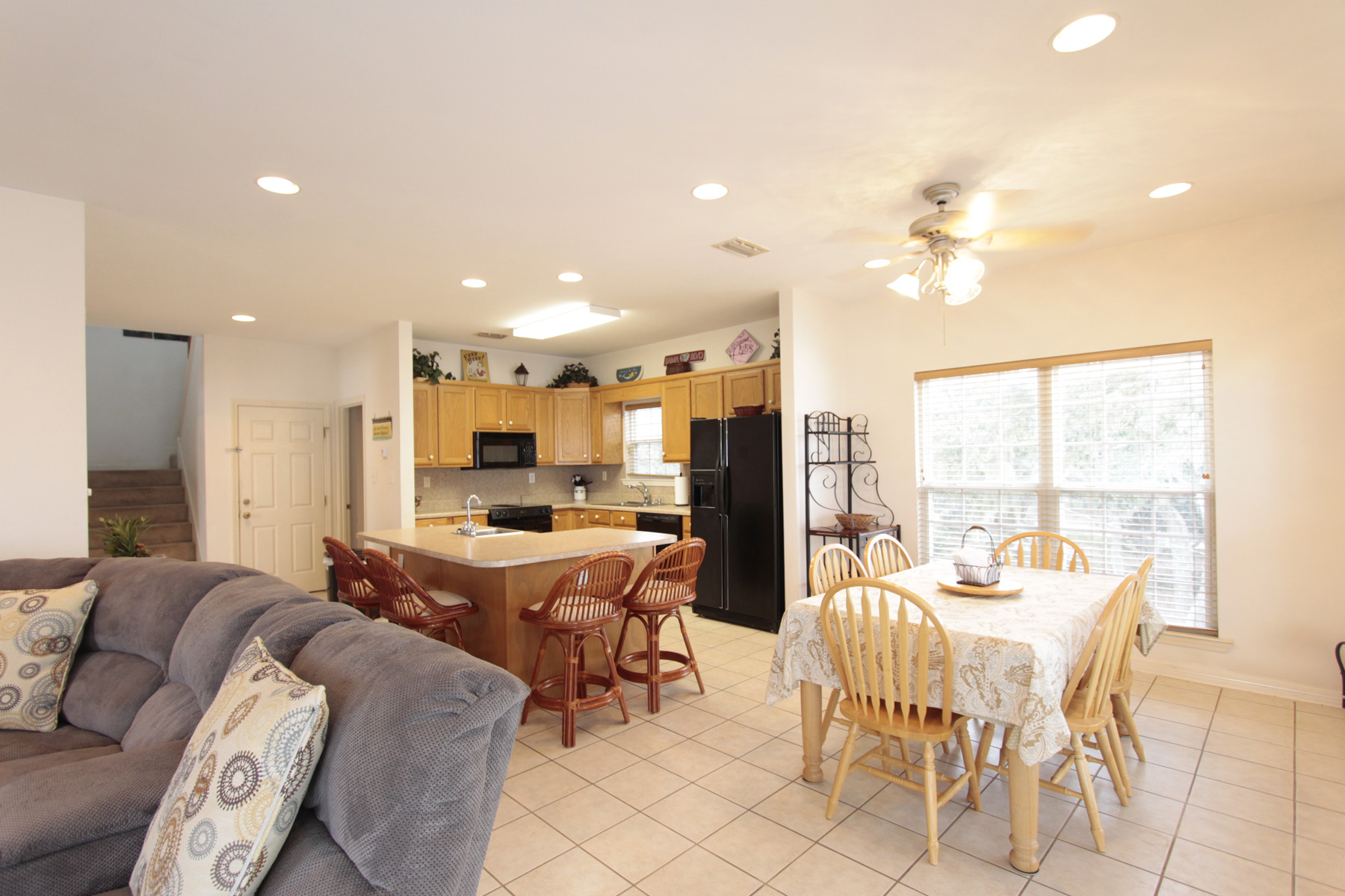 Open dining and kitchen area