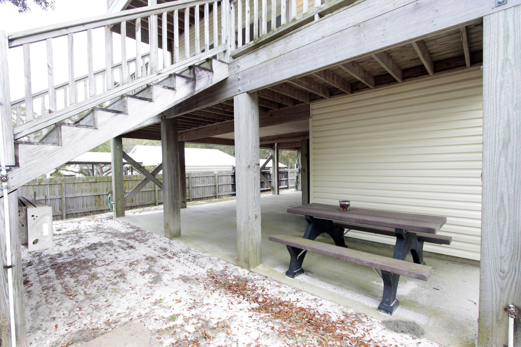Picnic table under deck