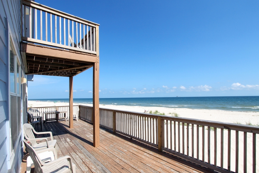 Large, partially covered deck