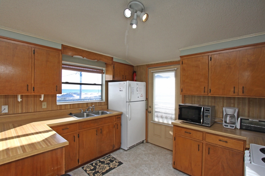 kitchen with door to open deck