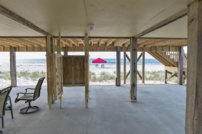 Beach views fro shaded patio area with shower