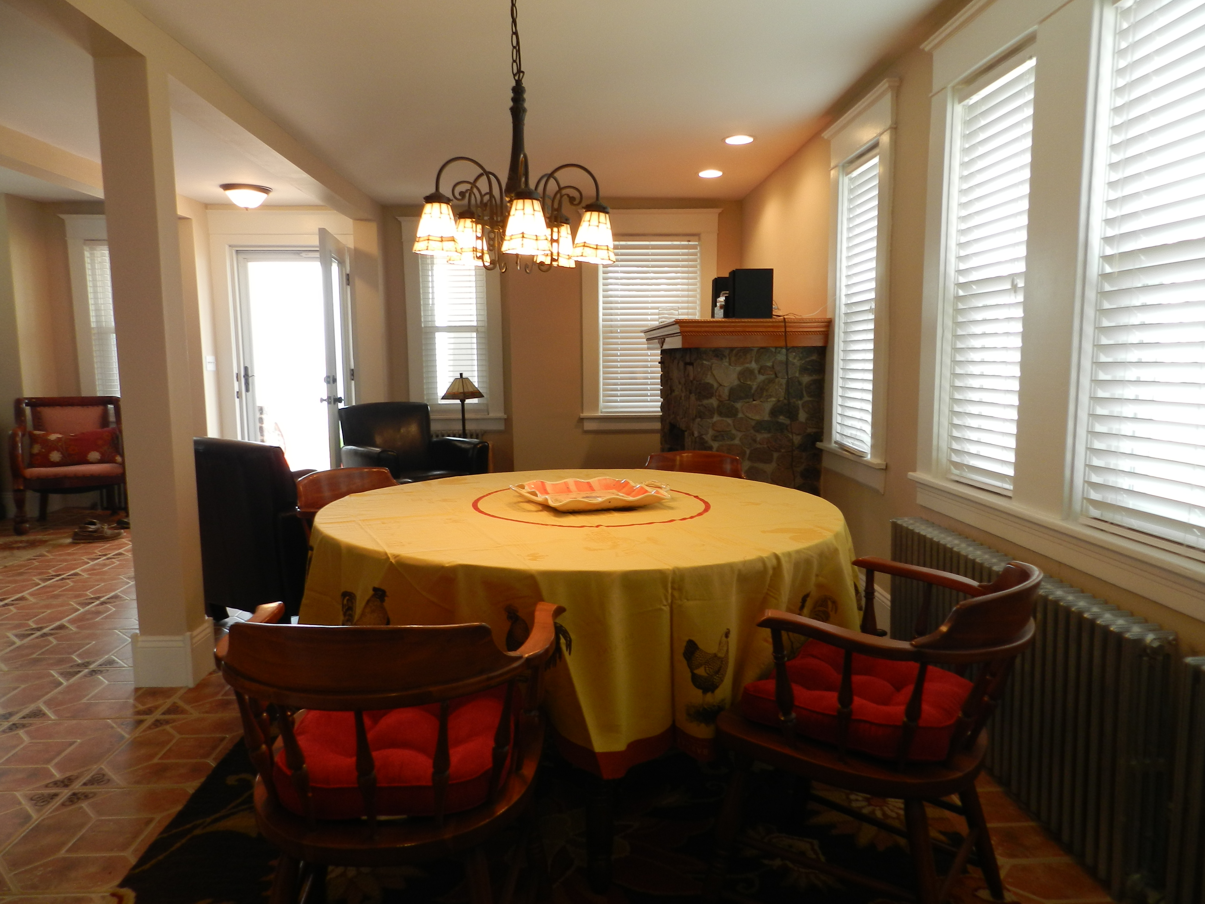 Dining Room with living area in background