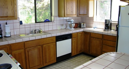 Spacious kitchen opens to great room.