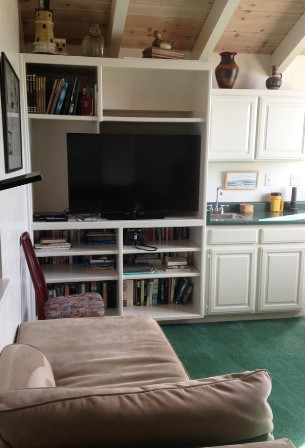 The large tv and chaise lounge