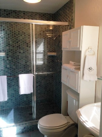 The master bath offers an oversized shower