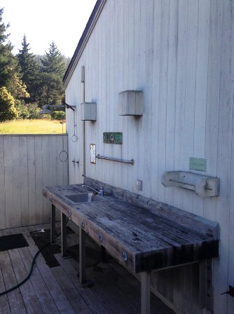 Outdoor shower and fish cleaning station
