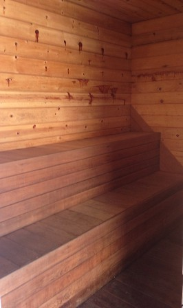 Even the sauna is large and spacious.
