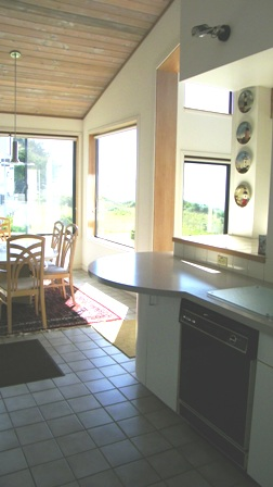 The kitchen is spacious and open to the dining room