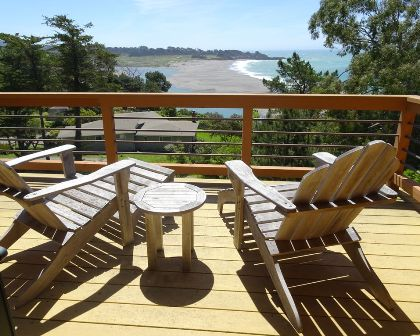 The guest balcony enjoys views of the Gualala river & ocean