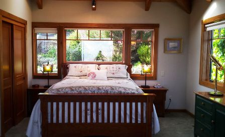 The guest bedroom, and the gardens that surround it