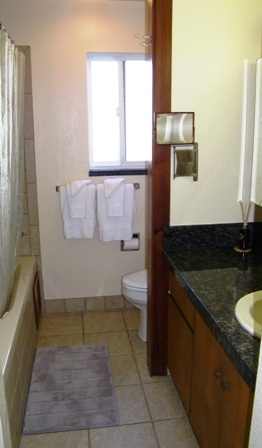 The on suite master bath has a large soaking tub